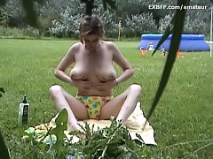 Soccer mom with big natural tits outdoors naked