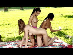 Hot threesome lesbian action in the nature with Klara Juliette and Ashley