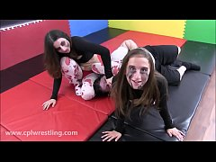 Twisted Zombie Sisters - Halloween Mixed Wrestling Video Facesitting
