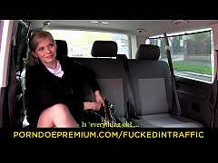 FUCKED IN TRAFFIC - Busty Czech blondie eats cum in the backseat of the car after hard sex