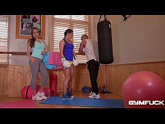 GymFuck Threesome for Horny coeds Inna & Angelica Heart