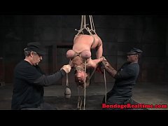 Busty bdsm sub restrained and suspended