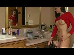 Horny brunette mom threesome with her stepdaughter