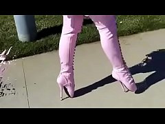 Best Mom Flashing in Pink Ballet Boots. See pt2 at goddessheelsonline.co.uk