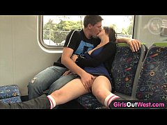 Amateur couple fucking on the train