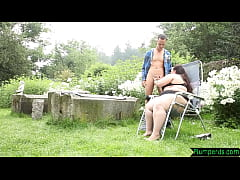 Cock tugging plumper sucking outdoors