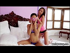 Hot teen lesbians Dillion Harper and Tia Cyrus banging with dildo and pussy lick