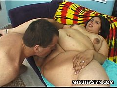 Fat ass Asian slut gets her sausage session