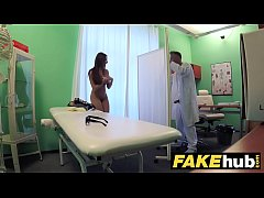 HD Fake Hospital Tall brunette patient with big natural tits swallows docs cum