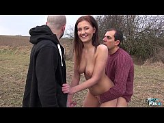 Horny Slut Gabriella Daniels enjoys her first outdoor threesome