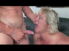 Old blonde whore gets to suck young stud's tool before fucking