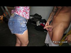 amateur babes getting group sex party in garage
