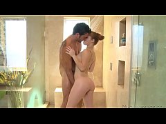 The amazing tender action in a shower by the sexy Madison Chandler and the attractive Ryan Driller
