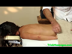 Jizzsprayed amateur gagging on masseurs dick