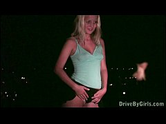 Young blonde pretty teen girl PUBLIC dogging in...