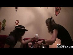 Hot halloween teen lesbo threesome