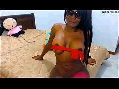Big tits ebony latina in pink stockings rubbing her pussy paxcams.com