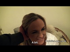 Blonde from public gets creampie pov