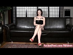 Tattoo's babe gives her 1st foot job at fuckedfeet!