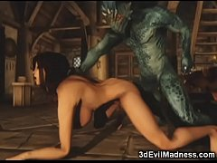 3D Busty Girl Pulverized by Alien
