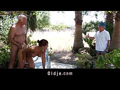 Hot tanned Angel Rivas fucks two Oldmen