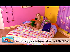 Blonde cutie orgasming in her room