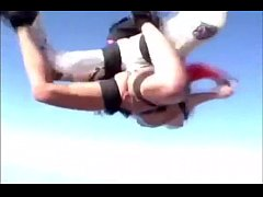 Funny nude girl skydiving