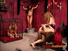 Kinky dominatrix enjoy spanking and whipping a sexy brunette bimbo