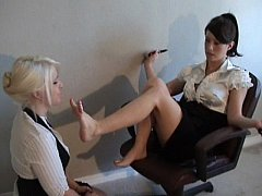lesbian reading a book while worshiping her feet 2