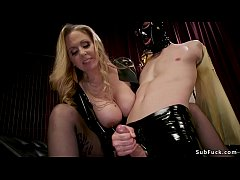 hot blonde big tits dom julia ann in black fetish latex outfit fucks slave