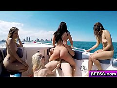 Sexy bikini babes group fuck on a boat