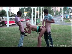 Cute blonde teen girl PUBLIC street gangbang threesome sex