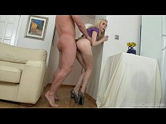 FIRSTANALQUEST.COM - ANAL CREAMPIE FILLS UP A PETITE BLONDE'S GAPING ASSHOLE