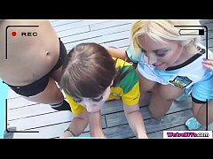 Latina bffs soccer players Blondie Fesser, Zoe Doll, Lucia Nieto and Medusa goes to coach house. They start showing their tits and pull out coachs cock and suck it together. In return coach fucks their pussy one by one.