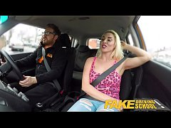 Fake Driving School Busty horny blonde needs cock in her pussy for apology