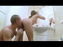 Damp hot wet young lolita pussy hardcore fucked bathroom by surprising stepbro