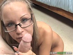 hot busty blonde in glasses blow and titfucks the cameraman