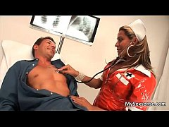 Horny shemale nurse loves sucking