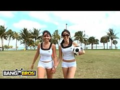 bangbros - sophia and summer bailey playing soccer in short shorts showing off their big asses