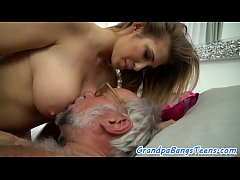 Stunning eurobabe jizzed on bigtits by oldman