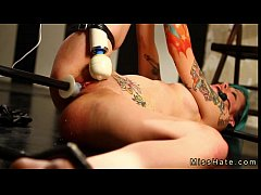 Tattooed gagged babe in bdsm hard flogged and pussy machine fucked