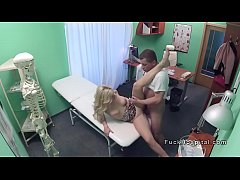 Doctor bangs blonde patient till orgasm