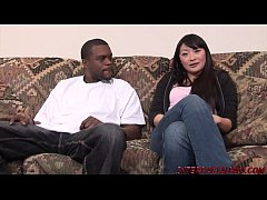Horny asian wife Lena sucks a big black dick then is fucked and swallows that bbc cum shot