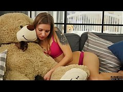 Beautiful teen and plush toy with cumshot facial in mouth