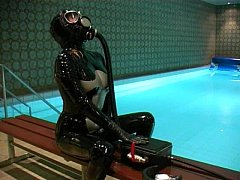 Gas Mask Breathplay by the Pool