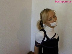 cute innocent teen girl frogtied and tape gagged