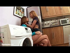 Deep fingering with two hot brunettes in the kitchen by Sapphic Erotica