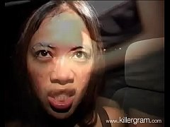 Nasty Asian Milf dogging sucking cocks and eating cum in public