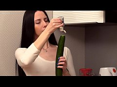 Russian real teen Veronica Snezna in the kitchen amateur solo