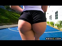 Big white booty teen butt fucked by her basketball trainer